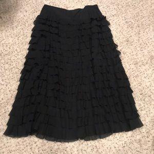 Black ruffle full length skirt